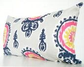 Navy Blue Lumbar Pillow Cover, Long lumbar cushion cover, Navy blue, pink, yellow pillows, Blue ikat throw pillow covers 14x28