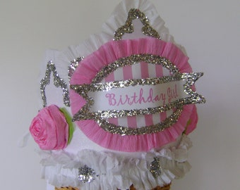 Birthday Party crown, birthday Party Hat, pink and white birthday hat, customize