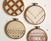 Mix & Match pair of vintage  fall embroidery wall art hoops