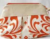 Orange and Cream Damask Pleated Wristlet