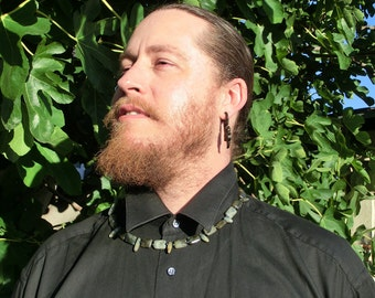Mens Necklace - Rugged Labradorite -  Spiritual Self-Defense - Rugged Necklace - Beadwork - Dude Necklace