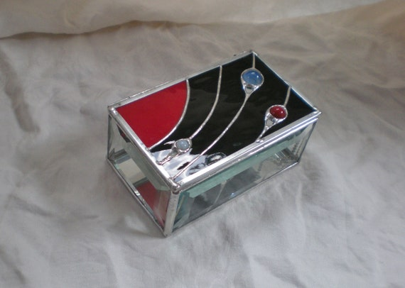 Stained Glass Jewelry Box Solar System Marbles By