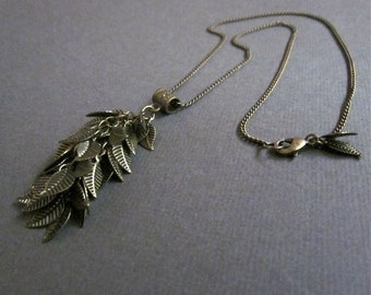 bronze leaves on chain - the kellen necklace