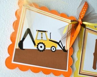 Construction Birthday Banner, Boy Birthday Decorations, Dump Truck Banner, Backhoe Banner