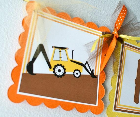 Construction Birthday Banner, Boy Birthday Decorations