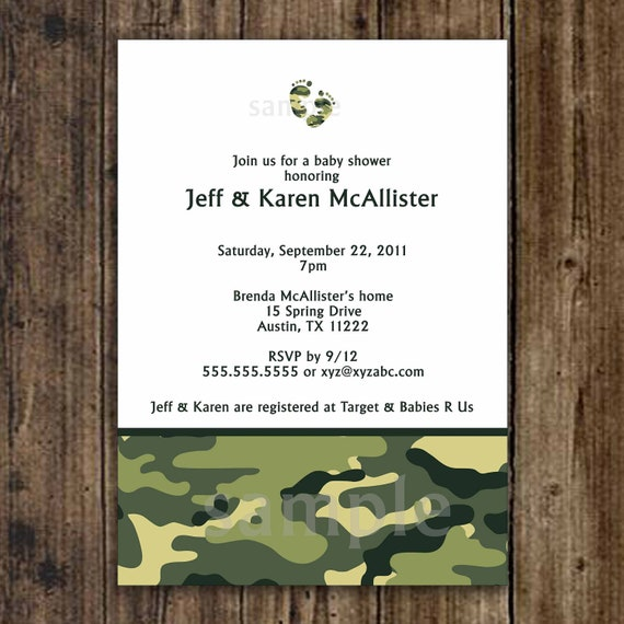 camo baby shower invitation army green digital printable file
