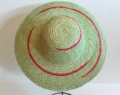 Vintage GREEN and RED Straw Hat - Earth Tones