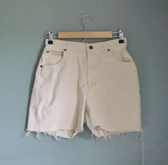 15 Dollar Sale Vintage LIZ Claiborne Denim Shorts - High Waist Jean - Women Small - Butter Yellow