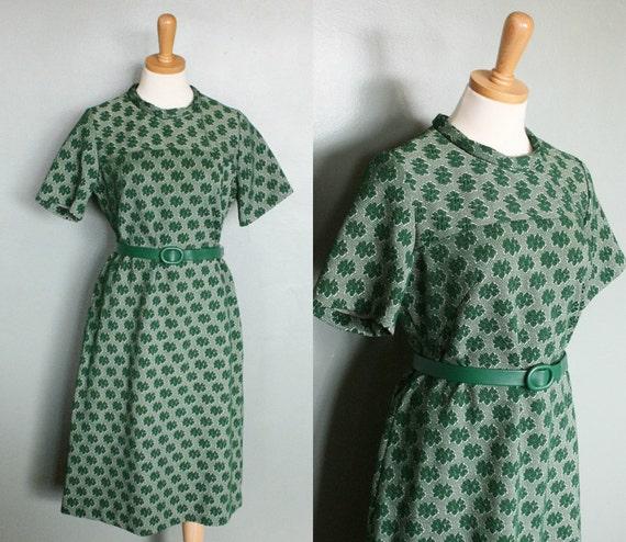 20 Dollar Sale - Vintage 60s ST PATTY'S Day Scooter Dress - Women Medium Large