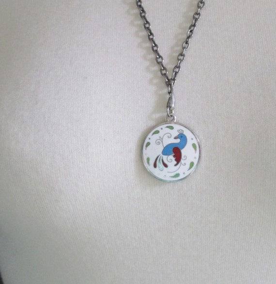 10 Dollar Sale - Vintage 70s Bird of Paradise Necklace - Pennsylvania Dutch - Silver Tone