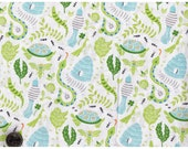 Fat Quarter Quilt Fabric Backyard Baby Boy Quilt Fabric Modern Snake Lizard Bug Fabric White