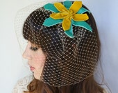 Teal and Mustard Yellow Velvet Fascinator with Birdcage Veil
