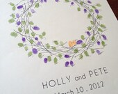 Guestbook Thumbprint Tree Alternative, Wedding Wreath (with 1 ink pad)