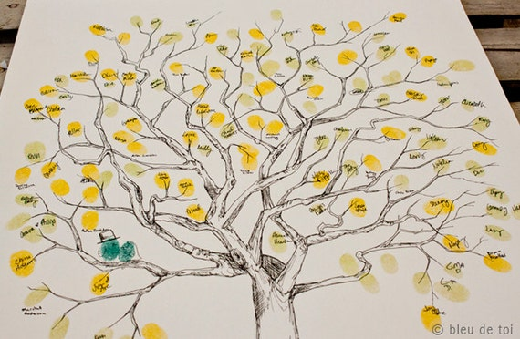 RESERVED (for Richard Penman) Guest book fingerprint tree, MEDIUM great oak (drawing with 5 ink pads)