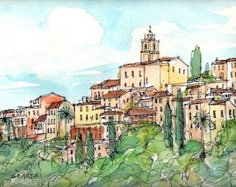 Grasse France art print from an original watercolor