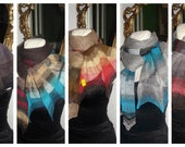 SCARF , sHAWL kNITTED -, colors to choose from- shaded scarves,pareo,shrug, wrap, bella dance CoLLecTion 2012 linen