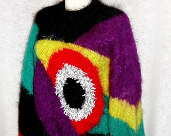 tunic,Dress for women, large size, colorful, handmade, PICASSO, mohair,long, multicolor