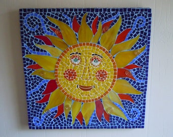 """Mosaic Sun Face Wall Hanging Summer Home Decor Beach Cottage  """"One Hot Guy"""""""