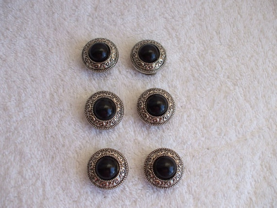 Black and Silver  Button Covers, set of 6, 80's, Snap On's