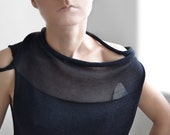 Black transparent asymmetrical top, Paris fashion, France, minimalist,asymmetrical