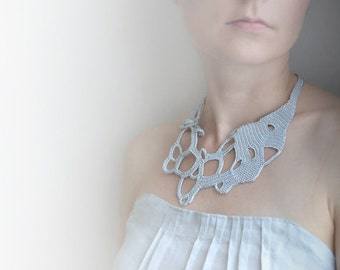 Silver grey freeform crochet necklace, grey lace necklace