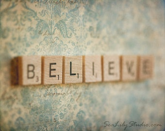 Believe : whimsical photo fairy tale magic fantasy children nursery peter pan aqua cream pastel home decor 8x10 11x14 16x20 20x24 24x30