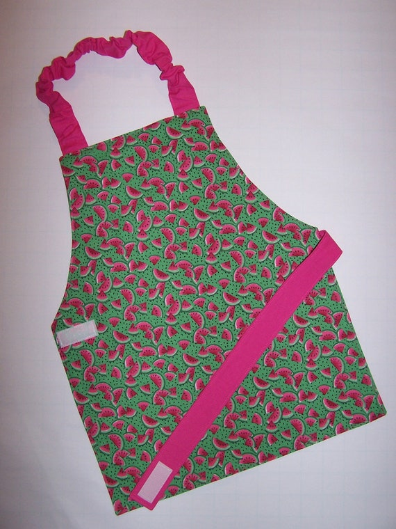 Watermelon print pink and green Montessori reversible child children kid toddler apron elastic neck Velcro closure