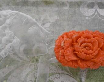 1930's Tangerine Orange Floral Celluloid Pin