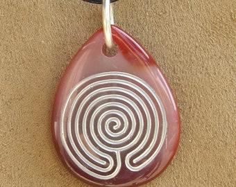 Sone Pendant Chakravyuha Labyrinth Sandblasted Necklace