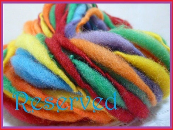 Reserved for Alynn rainbow colors self striping handspun wool yarn 2 skeins extra bulky