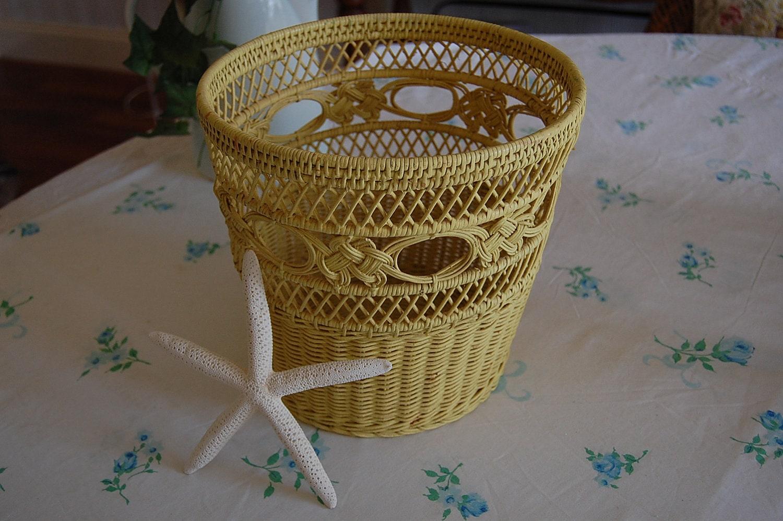 Pretty yellow wicker waste basket shabby chic cottage style at - Shabby chic wastebasket ...