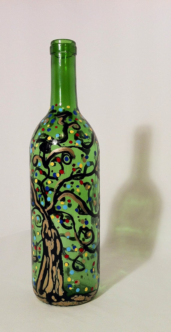 Items similar to hand painted glass bottle vase on etsy Painting old glass bottles