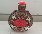 Vintage Miniature Jeweled Czech Glass and Filigree Brass Perfume Bottle
