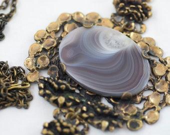 Vintage Pentti Sarpaneva Bronze Finnish Artisan Agate Pendant Necklace  .....2297