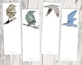bird silhouette bookmark set, seagull digital collage art, set of 4, library book animal art, woodland decor, gray blue bird lover bookmarks