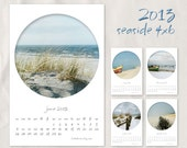 2013 calendar, seascape 4x6, unbound, monthly, seaside, nautical, beach, boat, ocean, cottage, bathroom decor, blue, gray, red, minimal