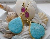 Deep Blue Sea Turquoise and Pink Sapphire Earrings