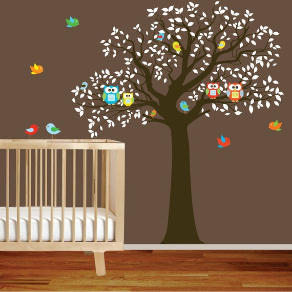 Vinyl wall decal stickers bird tree set nursery wall sticker for Bird and owl tree wall mural set