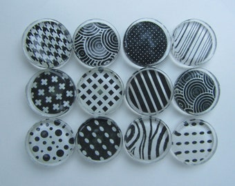 Black and White Fridge Magnets - Fun Mix Refrigerator Magnets Set of 12