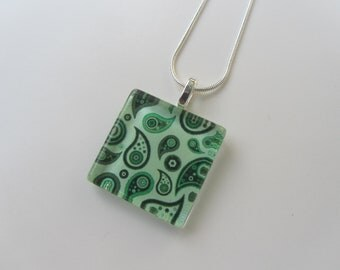 Green Paisley Glass Pendant Necklace with Silver Chain Necklace