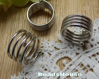 8Pcs 18mm (RR-20) Silver Plated Brass Spring Ring, Nickel Free