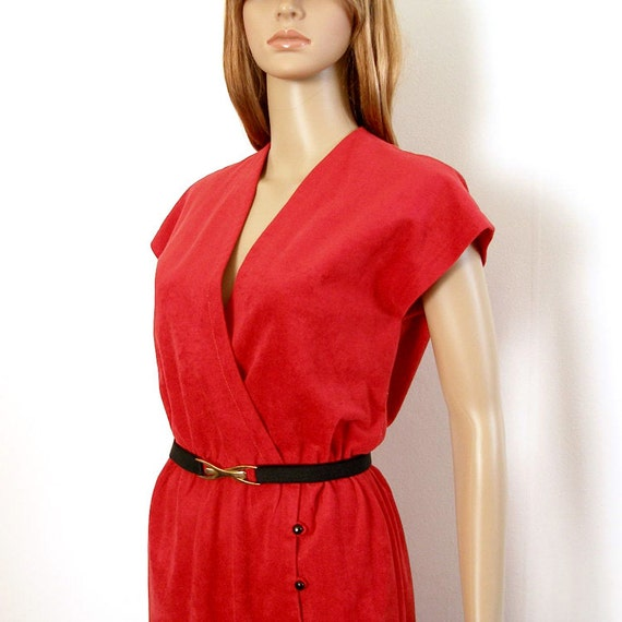 1980s Wiggle Dress / 80s RED Suedecloth Faux Wrap Dress / Medium