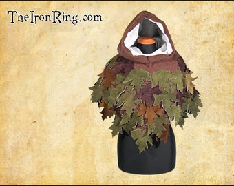 Fantasy elven hood with leaves, elf, elvish, ranger, cape, cloaK, larp