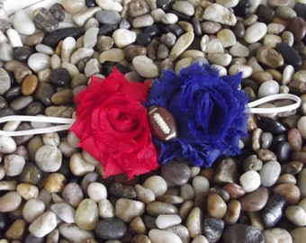 New York NY Giants Baby Headband Shabby Chic Blue and Red Double Flower Headband -  Newborn - Infant - Toddler - Girl - Adult - Photo Prop