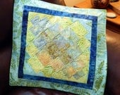 Handcrafted Quilted Batik Bargello Pillow Cover blue green
