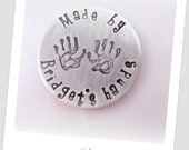 Personalized Magnet Hand Stamped Children's Hand Prints and Name