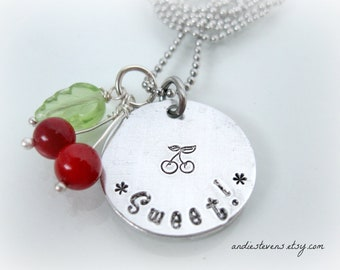 Sweet Cherry Necklace - Hand Stamped - Personalized - Aluminum - Stainless Steel