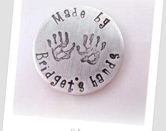 Personalized Magnet -  Hand Stamped Magnet - Children's Hand Prints - Kids Name Artwork - Refrigerator Magnet - Kitchen Magnet - Custom Gift