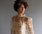 ivory steampunk lace blouse