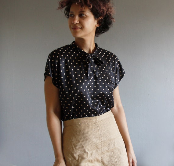 1970's polka dot blouse